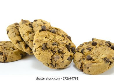Buch of chocolate chip cookies isolated