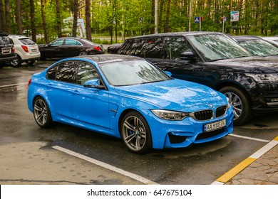 Bucha - May 21, 2017: BMW M3 (F80), a high-performance version of BMW 3-series tuned by BMW's M division and the successor of the highly successful E90 M3 coupe