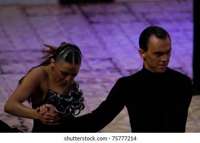 BUCHAREST - APRIL 17: Unknown ballroom dancers compete in IDSF (International Dance Sport Federation) Dance Masters competition on April 17, 2011 in Bucharest, Romania
