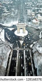 Bucharest arcul de triomphe snow drone