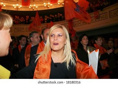 BUCHAREST - JUNE 15: Elena Udrea, member of the Romanian Democratic Party, former president counselor and a controversial figure in Romanian politics, attending a rally in Bucharest, June 15th 2008