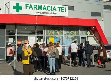 Bucharest / Romania: 03 14 2020 Farmacia Tei Dristor people in line que waiting for medical supplies