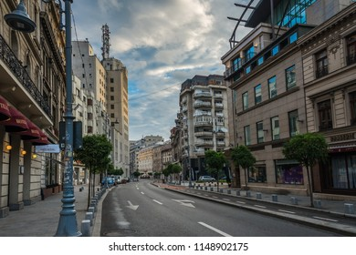 BUCHAREST, ROMANIA - 07.20.2018. Old Center of Bucharest, Romania in a cloudy summer morning. Sullen and unpleasant atmosphere, dirty streets and shabby buildings.