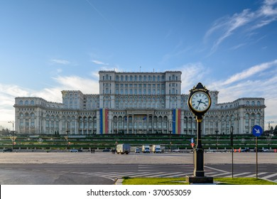 Bucharest, Romania -  1 December: Casa Poporului on December 1, 2015 in Bucharest. The worlds largest civilian building, the most expensive building and heaviest building on Romanian national day.