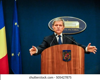 Bucharest, Romania, 1 February 2016: Romanian Prime Minister Dacian Ciolos holds a press conference after an informal meeting of his cabinet, at Victoria Palace, in Bucharest, capital of Romania.