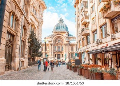 Bucharest, Romania - 10 12 2018 Panoramic view Palace of the Savings Bank in the historical center or old town of city