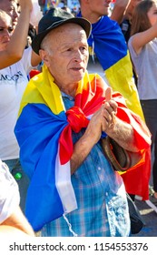 Bucharest, Romania - 10 August 2018: An old man protesting at the Diaspora protest against the way Romania is governed by Social Democrats