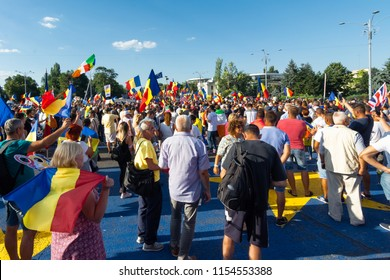Bucharest, Romania - 10 August 2018: Tens of thousands of protesters have rallied in cities across Romania against the way Romania is governed by the ruling Social Democrat-PSD