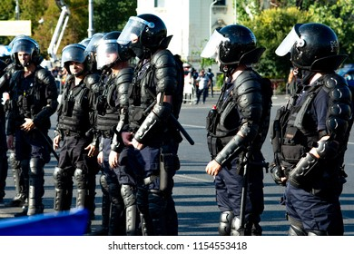 Bucharest, Romania - 10 August 2018: Riot police prepared to supress the manifestation during the protest of Diaspora when thousands of people have rallied across Romania against the way