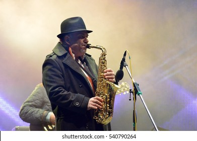 BUCHAREST, ROMANIA - 10 DECEMBER 2016: Saxophonist performing on stage at the city's Christmas market.