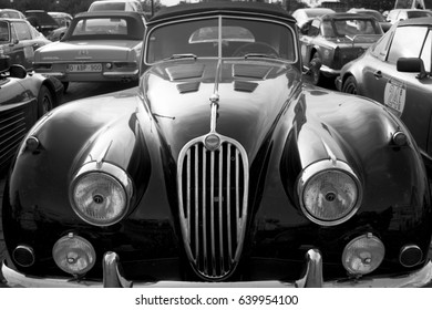 Bucharest, Romania, 12 May 2017 - TourAmical 2017 ANTWERP – PRAHA – BUDAPEST -BUCHAREST. Old cars have completed the tour and rest in the final parking lot