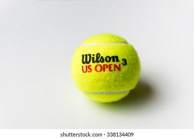 BUCHAREST, ROMANIA - 12 November 2015: Official Wilson tennis ball of US Open on 12 November, 2015.