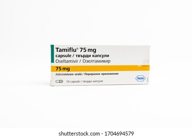 Bucharest, Romania - 15 April 2020: A pack of Tamiflu (Oseltamivir), a antiviral medication used in some hospitals for the treatment of patients infected with the coronavirus covid-19