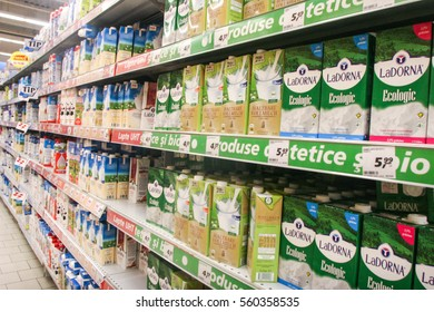 Bucharest, Romania, 17 January, 2017: Different brands of milk on shelves in a supermarket in Bucharest.