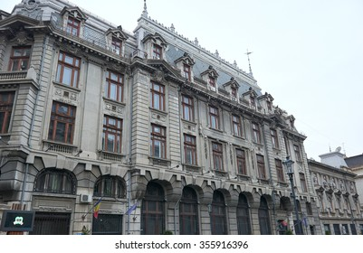 BUCHAREST, ROMANIA, 19.12.2015: Old buildings architectural monuments in the streets of Bucharest in Romania