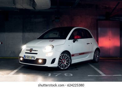 BUCHAREST, ROMANIA - 20 April, 2017: View of a white Fiat 500 Abarth.