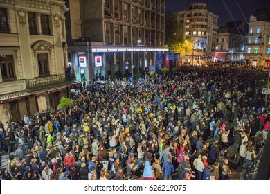 Bucharest, Romania - 20.04.2017 - Thousands of people in Bucharest city center during the Spotlight International Light Festival.