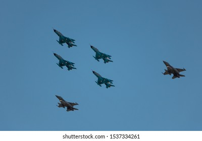 BUCHAREST, ROMANIA, 2019: Acrobatic planes at Bucharest International Air Show (BIAS) with blue sky background