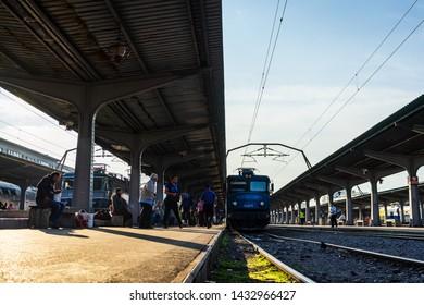 Bucharest, Romania - 2019. People getting of the train Bucharest North Railway Station (Gara de Nord) in Bucharest, Romania.
