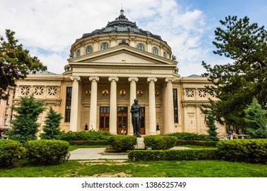 Bucharest, Romania - 2019.  The Romanian Athenaeum in the center of Bucharest, a landmark of the Romanian capital city.