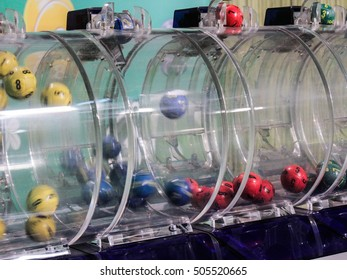 Bucharest, Romania, 21 February 2016: Image of lottery balls during extraction of the winning numbers.