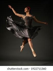 Bucharest  Romania - 2.3.2021:  Ballerina posing on a dark background