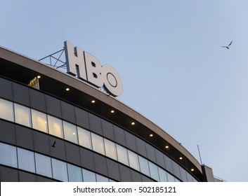 Bucharest, Romania, 25 February 2016: HBO Television logo on a building in Bucharest.