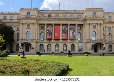 BUCHAREST, ROMANIA - 25 SEPTEMBER, 2018: facade of the national art museum of romania