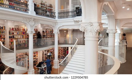 Bucharest, Romania - 27 October, 2018: People shopping in the Carturesti Carusel bookshop. The store contains more tham 10,000 books, 5,000 albums and DVDs and a top floor bistro.