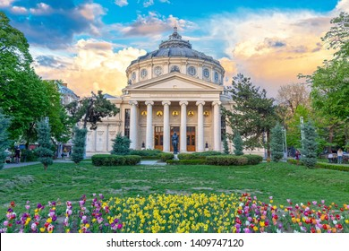 BUCHAREST, ROMANIA - 28.04.2019: Romanian Atheneum, an important concert hall and a landmark in Bucharest, Romania. Sunset colors.