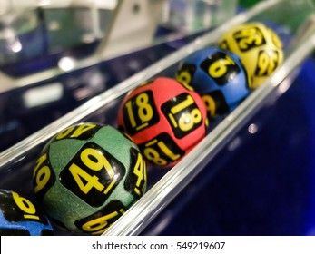 Bucharest, Romania, 31 January 2016: Image of lottery balls during extraction of the winning numbers.