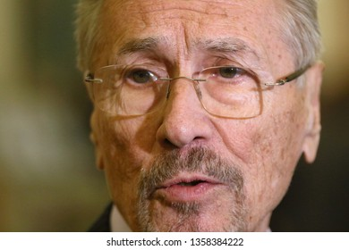 Bucharest, Romania - April 02, 2019: Emil Constantinescu, former President of Romania, speaks to the press on the occasion of the 15th anniversary of Romania's entry into NATO, in Bucharest.