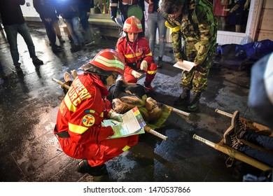 BUCHAREST, ROMANIA - APRIL 12, 2019: Emergency rescue team in action during the most complex medical exercise in the history of NATO, Vigorous Warrior 2019.