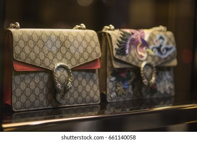 Bucharest, Romania - April 13, 2017: Gucci purses in a luxury store in Bucharest.