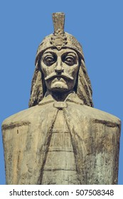 Bucharest, Romania - April 14, 2014: Carved bust of Wallachian Prince Vlad Tepes, known as Vlad the Impaler or Vlad Dracula, believed to have been inspired the popular character of Count Dracula.