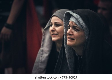 Bucharest, Romania - April 15, 2014: Romanian actress portrays grieving Virgin Mary during the Stations of the Cross reenactment.