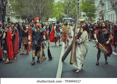 Bucharest, Romania - April 15, 2014: Romanian actors reenact the path of Jesus Christ along the Stations of the Cross on Good Friday.