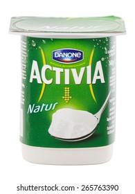 BUCHAREST, ROMANIA  APRIL 2, 2015. Danone Atctivia Natur. Activia is the only probiotic yogurt product made with probiotic culture, bifidus regularis, designed to improve digestive health.