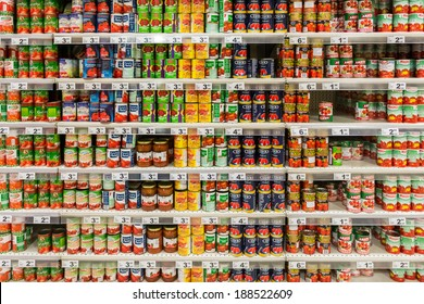 BUCHAREST, ROMANIA - APRIL 20, 2014: Canned Food On Supermarket Stand.