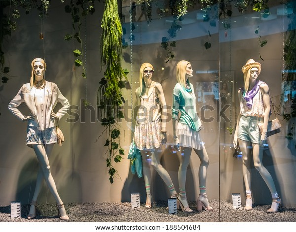 BUCHAREST, ROMANIA - APRIL 20: Boutique Fashion Mannequins In Fashion Shop Display on April 20, 2014 in Bucharest, Romania.