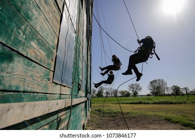 BUCHAREST, ROMANIA - APRIL 21: Firefighters are rappelling and climbing ropes at a drill exercise, on April 21, 2017, in Bucharest