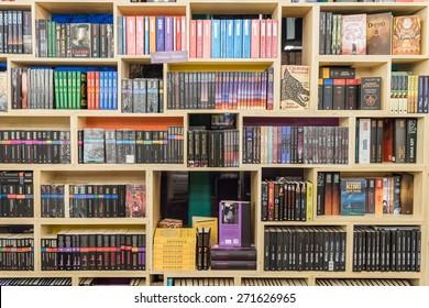 BUCHAREST, ROMANIA - APRIL 22, 2015: International Science Fiction Books On Library Shelf.