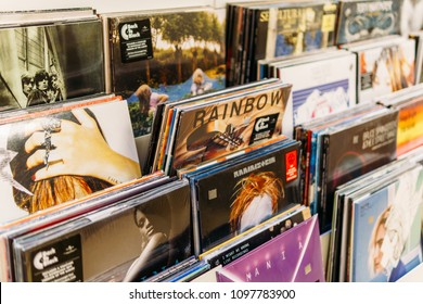 BUCHAREST, ROMANIA - APRIL 22, 2018: Vinyl Record Cases Of Famous Music Bands For Sale In Music Store