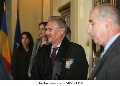 Bucharest, Romania, April 24, 2009: The former president of Romania, Emil Constantinescu during the ceremony organized on the ocasion of the visit of NATO Secretary General Jaap de Hoop Scheffer.