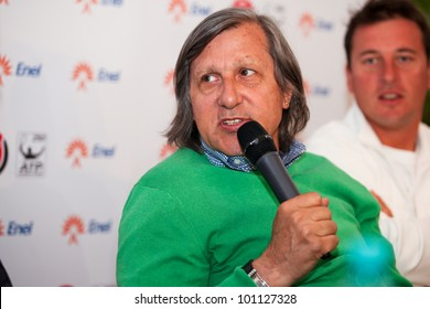 BUCHAREST, ROMANIA- APRIL 24: Ilie Nastase, tennis legend speaks to the media during BRD Nastase Tiriac Trophy press conference, on April 24, 2012, at Arenele BNR, in Bucharest, Romania