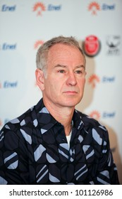 BUCHAREST, ROMANIA- APRIL 24: John McEnroe, tennis legend of U.S. attends BRD Nastase Tiriac Trophy press conference, on April 24, 2012, at Arenele BNR, in Bucharest, Romania