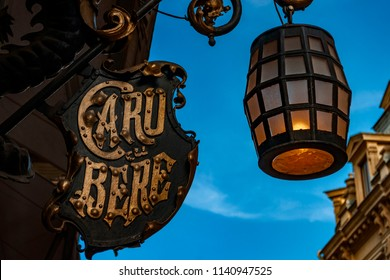 Bucharest, Romania - April 25, 2011: The front sign of Caru cu Bere (the beer wagon) bar and restaurant, in the Lipscani district known as the old town or old center of Bucharest