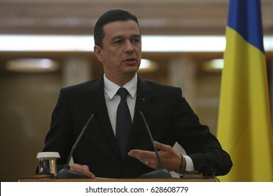 BUCHAREST, ROMANIA - April 26, 2017:  Romanian Prime Minister Sorin Grindeanu speaks at the joint press conference with his Georgian counterpart, Giorgi Kvirikashvili.