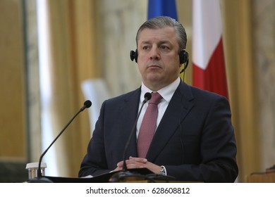 BUCHAREST, ROMANIA - April 26, 2017:   Giorgi Kvirikashvili, the Prime Minister of Georgia speaks at the joint press conference with his Romanian counterpart, in Bucharest.
