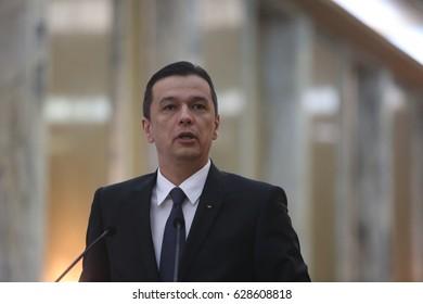 BUCHAREST, ROMANIA - April 26, 2017:  Romanian Prime Minister Sorin Grindeanu speaks at the joint press conference with his Georgian counterpart, Giorgi Kvirikashvili.